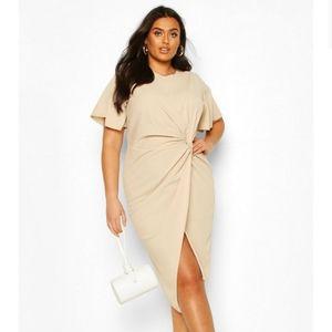 Boohoo Angel Sleeve Twist Midi Dress